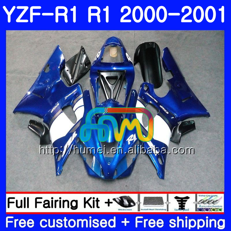 Body For YAMAHA YZF R 1 white blue YZF 1000 YZF-<strong>R1</strong> 00-01 Bodywork 98HM3 YZF1000 YZF-1000 YZF <strong>R1</strong> 00 01 YZFR1 2000 <strong>2001</strong> <strong>Fairing</strong>