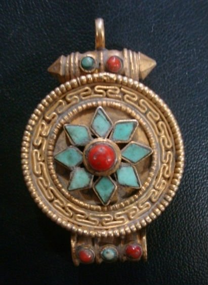 Beautiful Gold Plated Tibetan Ghau Coral/Turquoise Pendant Nepal