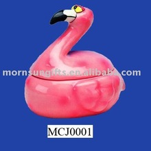 2016 Custom hand painted pink bird shaped ceramic trinket box