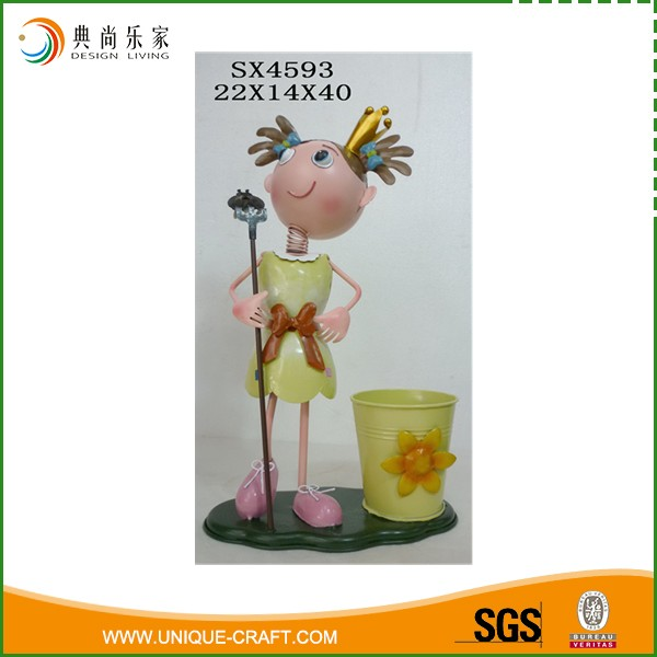 Spring Outdoor Powder Coated Yellow Garden Flower Planter With Girl Taking Pitchfork