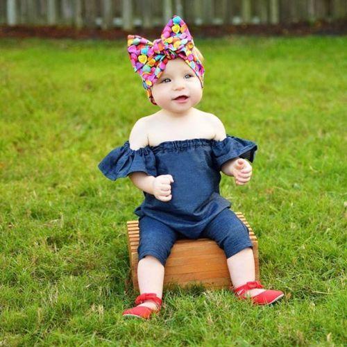 Summer Kids Baby Girl Denim Bodysuit Romper Jeans Leggings Jumpsuit