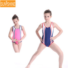 Pathchwork Cross Children Swimwear One-Piece Sport Swimsuit for Kids