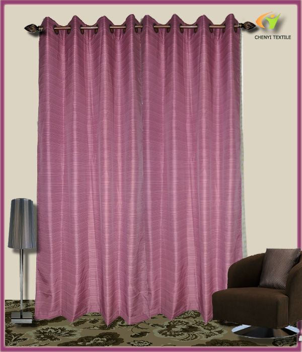 silk stripe/fringe polyester fabric window curtain