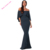 Navy Off Shoulder Poncho Gown Mermaid Evening Dresses 2018