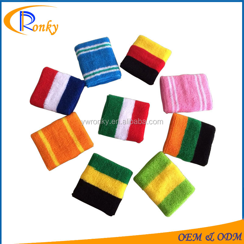 Custom cotton country flag sweatbands for wrist guard