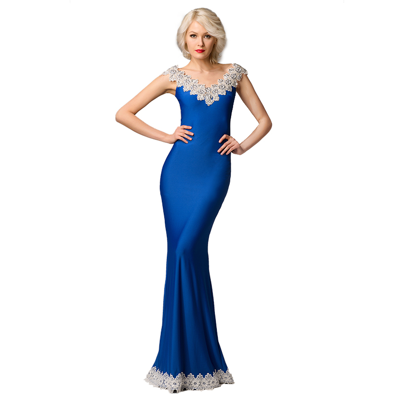 Blue Mother of Bride Dresses Beaded Evening Dress Gowns Women V Neck 2018 Prom Dress for Ladies