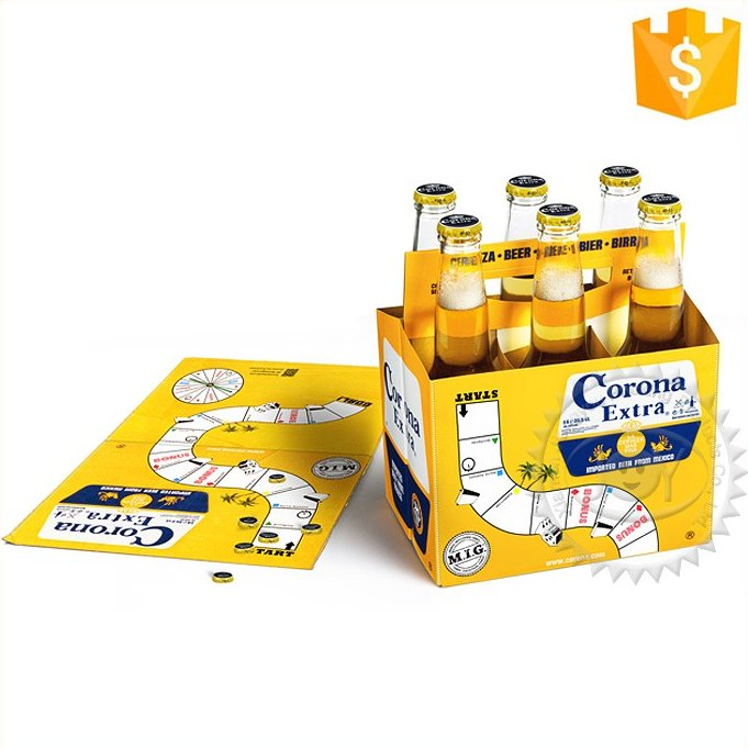 Customized professional print your logo Portable six pack beer paper box
