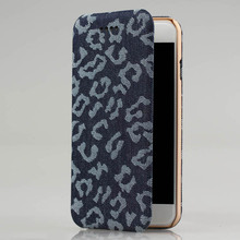 Denim fabric leather card slots flip phone case for iPhone6 case wallet