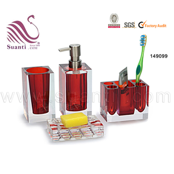 Best selling red bathroom sets with soap dish lotion bottle toothbrush holder