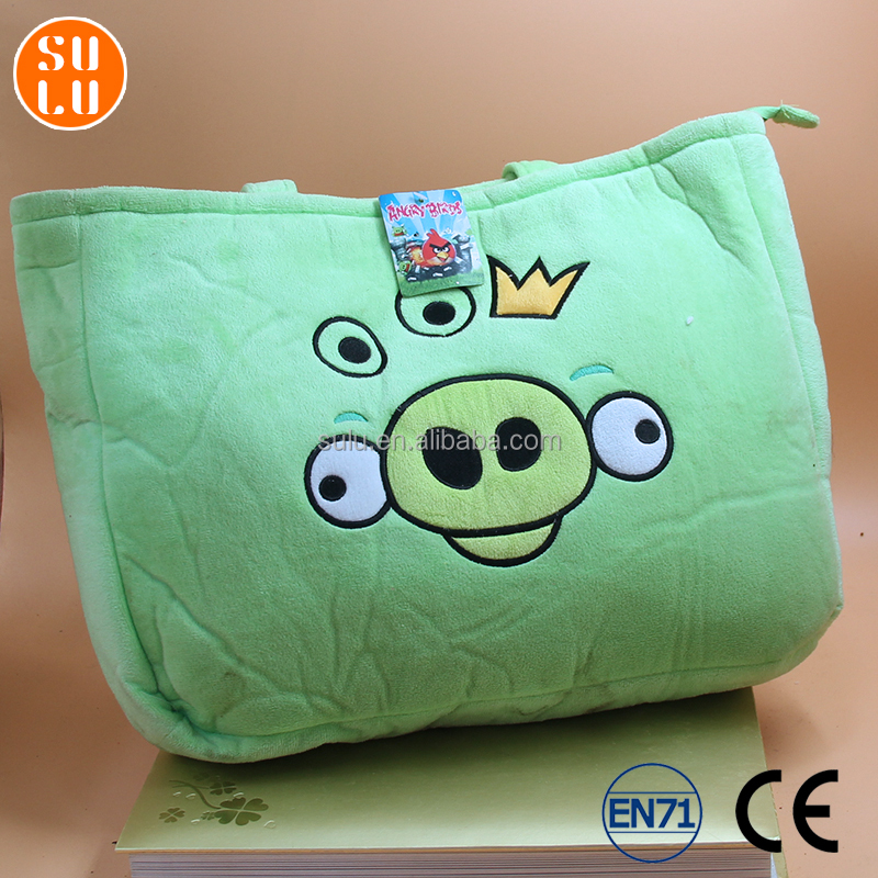 customized promotion souvenir shopping bag/rectangular multi-color cartoon angry pig theme plush hand bag