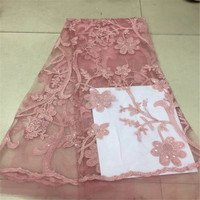 Evening Dress Design Sequin African Embroidered Tulle Lace French Bridal Pink Net Lace Fabric
