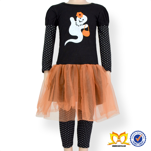 Girl 2PC Embroidery Outfit Baby Boutique Wholesale Halloween Remake Clothes Set