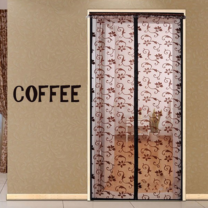 100*220CM COFFEE Factory hot sale new design easy install lace yellow for anti mosquito magnetic screen mesh door curtain