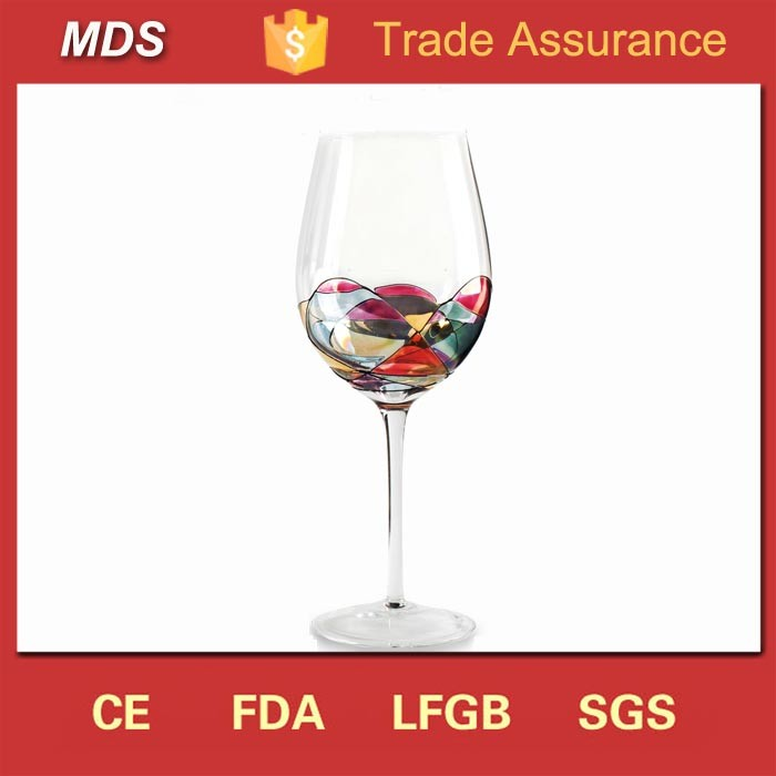 Large red modern decorated wine glasses for selling