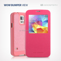 mercury goospery WOW Bumper View pu leather case for samsung galaxy s4 mini i9190