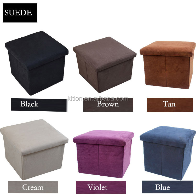 2018 faux suede foldable living ottoman stool with storage