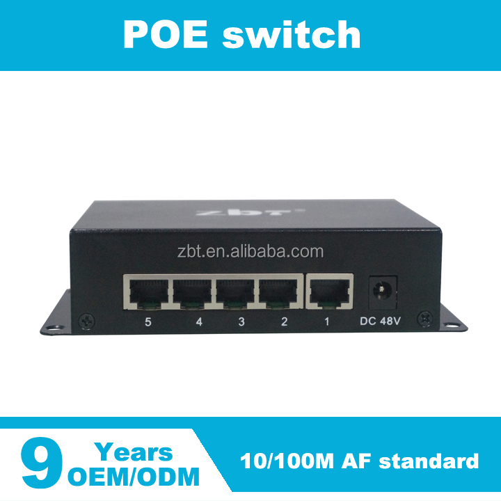 5 ports 10/100Mbps AF POE switch for IP camera or IP phone or AP