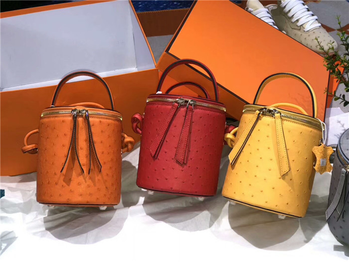 Customized genuine ostrich leather bucket bag designer shoulder crossbody bag women bags handbag