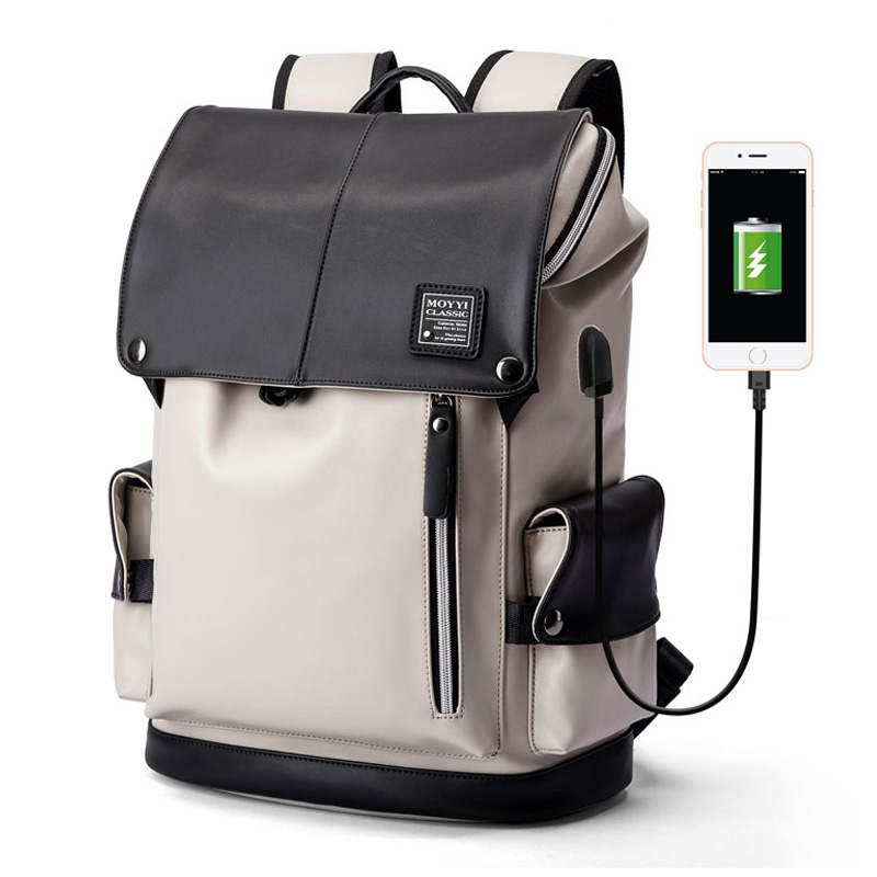 mochila vegan leather <strong>bags</strong> men women good brands travel Laptop Backpack with usb port