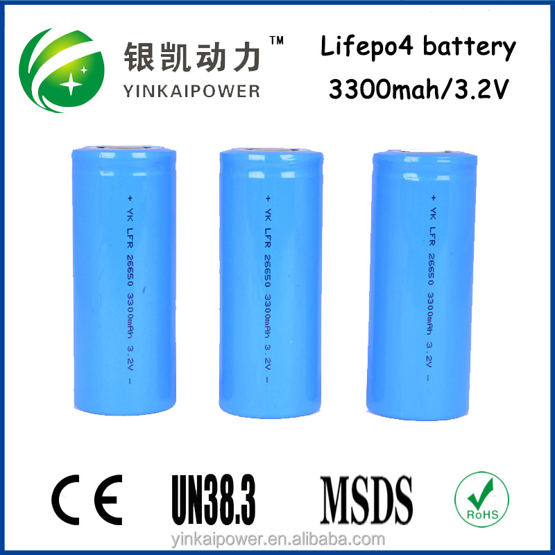 Standart hot selling 26650 3000mah IFR lifepo4 battery rechargeable for electric equipment