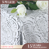 China wholesale luxury banquet wedding decorative leather cheap beige tablecloths embroidered ribbons for wedding party