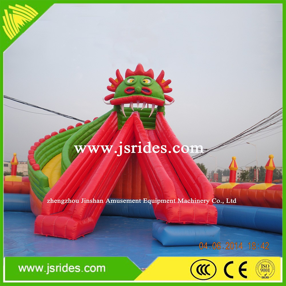 Large Inflatable Water Park Water Dragon Slide For Sale