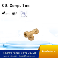 High quality US Europe lead free c46500 copper cUPC brass pipe fitting compression Tee connection for plumbing supply