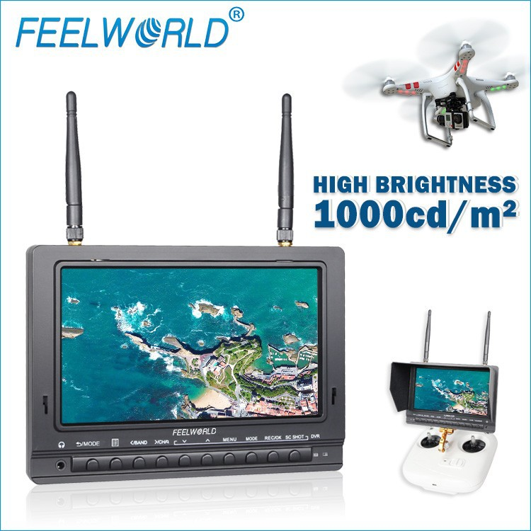 New Feelworld 7 inch antiglare matte screen FPV Monitor built-in <strong>battery</strong> dual 32ch 5.8ghz Receiver uav drone crop duster
