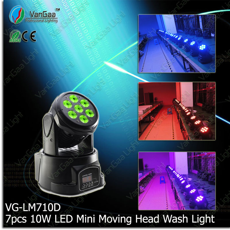 VanGaa mini 7pcs 10w dolorful led moving head stage light mixer