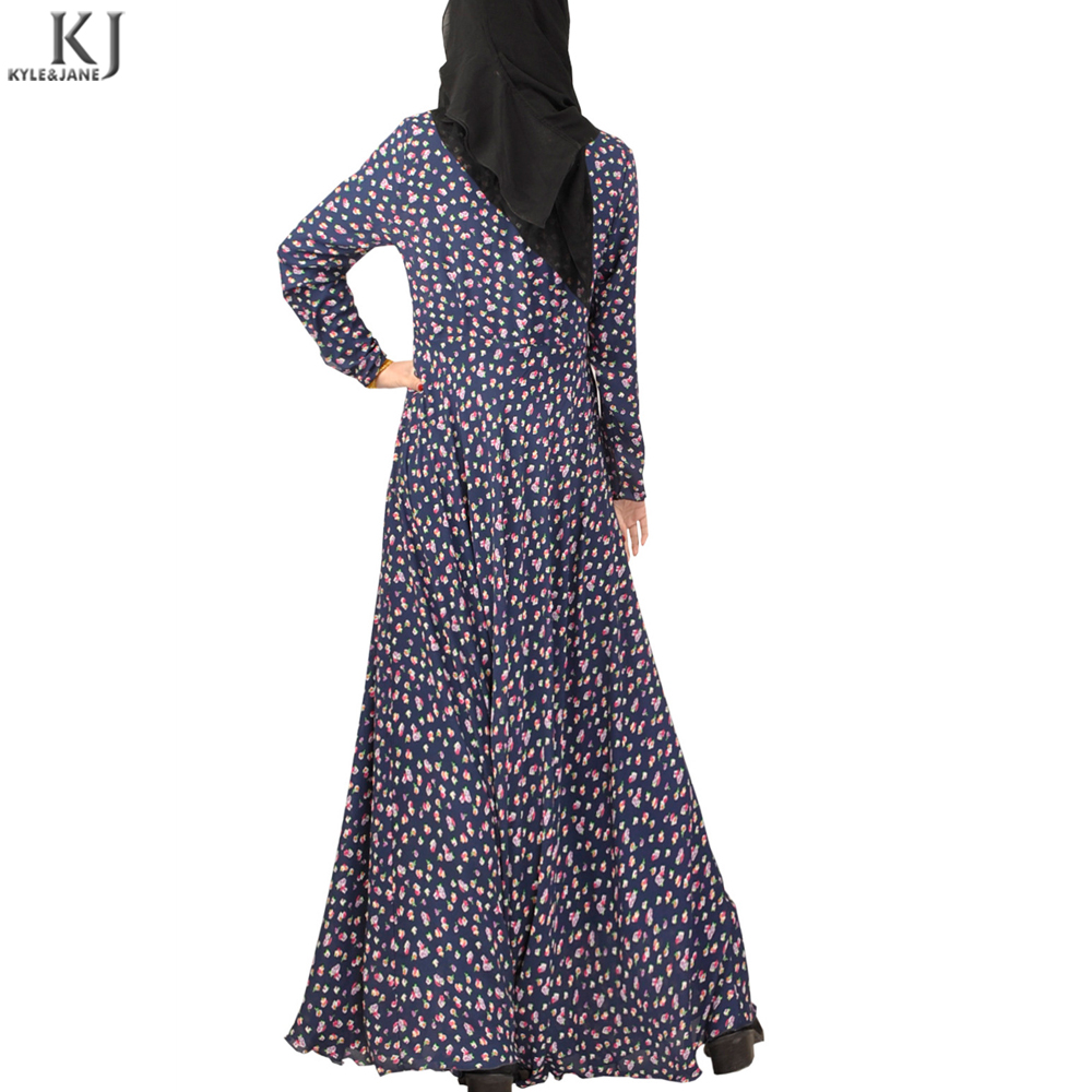 pakistani style A line dotta pattern print abaya dress simple cheap islamic clothing kaftan in indonesia