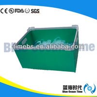 Green folding corrugated plastic handle boxes