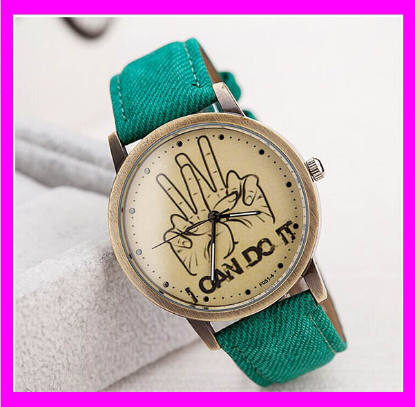 JC3136 Trendy multicolor fabric jeans couple sports watch,I can do it