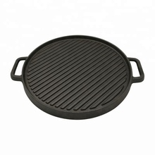 12Inch BBQ Two Side Griddle Pan Preseasoned Cast Iron Round Grill <strong>Plate</strong>