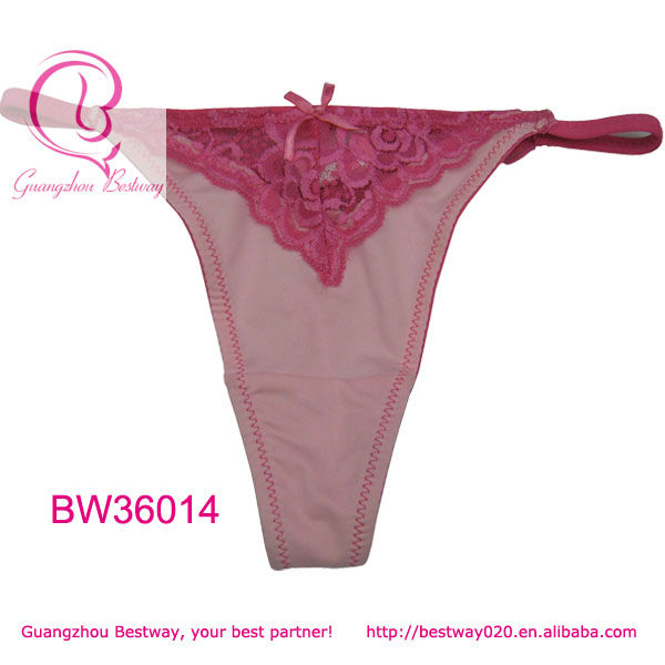 Hot sale picnk g string tanga with lace & bow