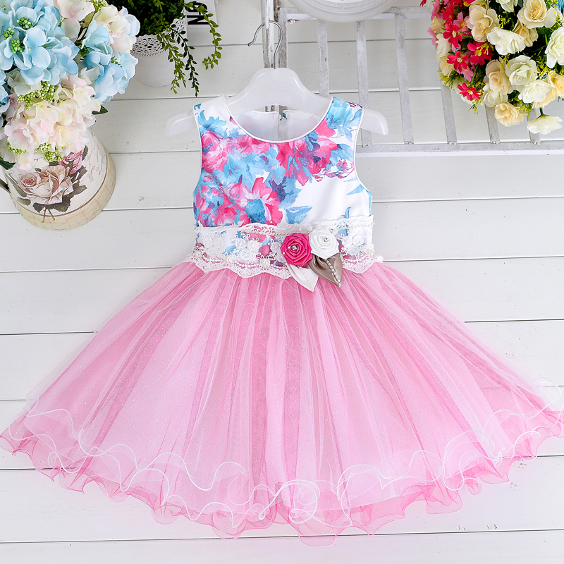 2016 new wholesale model wedding party dress medium group 3-8years old girl party Dress Baby Girl Birthday Dress L15069