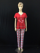 65% cotton wholesale new design Arabic women pajama with shining picture