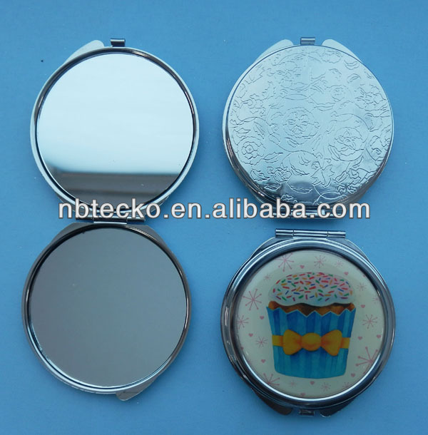 Epoxy logo foldable round shape cosmetic two sides metal mirror