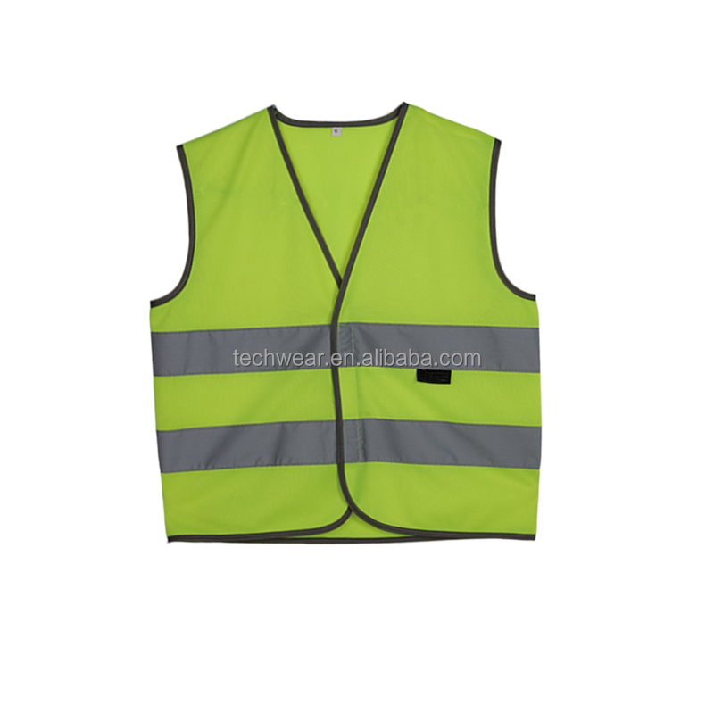 Black high visibility reflective safety vest for kids