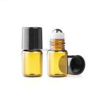 Empty 1ml Amber Micro Mini Rollon Dram Glass Bottles with Metal Roller Balls