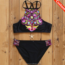custom printed bikini swim wear crop top swimsuit high school girls sexy swimsuit hot micro bikini girl