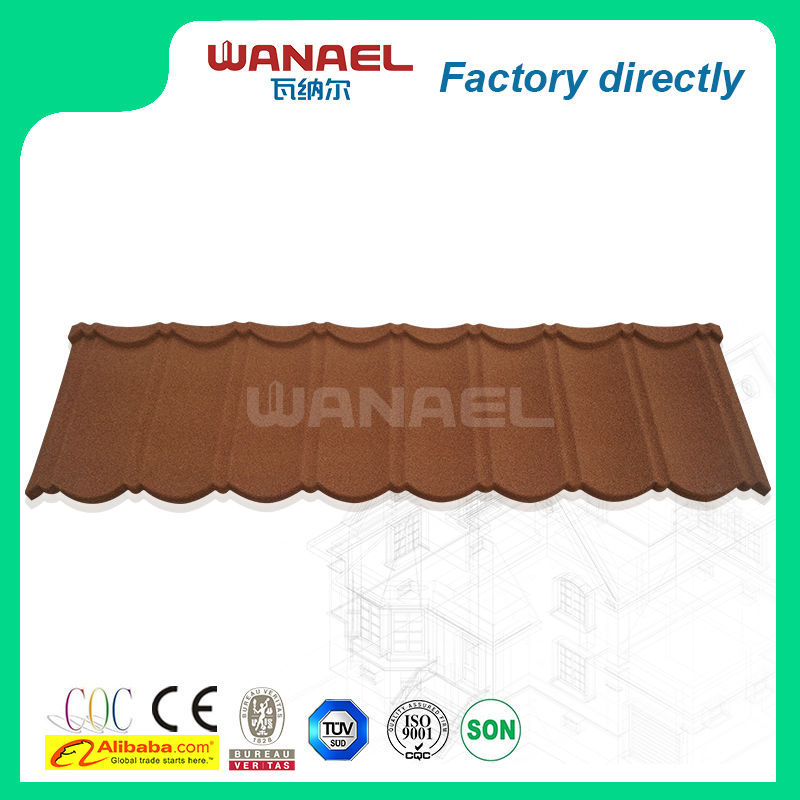 color stone chip coated metal resin <strong>grain</strong> 8 waves classical roof tile