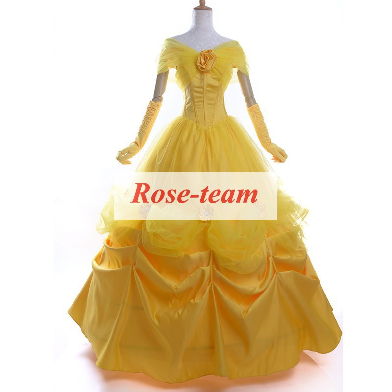 Fantasia Anime Lolita-Best Quality Halloween Costumes Adult Belle Costume Beauty and the Beast Costume Princess Dress C0523