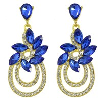 Luxurious Gold Color Circle Rhinestone and Blue Crystal Flower Drop Earrings for Women