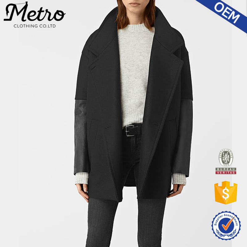 wool blend wholesale dropped shoulder oversized coat with leather sleeve