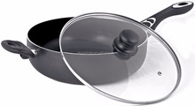 Nonstick Jumbo Cooker / Saute Pan Grey 11 inches (5.5-Quart) - Deep Frying Pan Cookware with Glass Lid - Dishwasher Safe by Utop