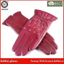 Ladies Nappa Bordeaux Grommet Premium Quality Sheep Leather Gloves Fashionable Driving Leather Gloves