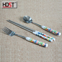 Food grade korean plastic handle fork and spoon set for Promotional gifts set
