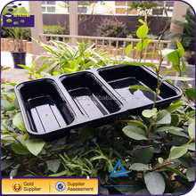 Black plastic 3 compartment food storage containers boxes with lid