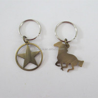 custom antique bronze brushed metal star shaped key chain with key ring