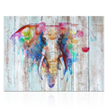 Creative Wall Decor Watercolor Elephant Painting on Woodboard Canvas Giclee Art Decor for Living Room